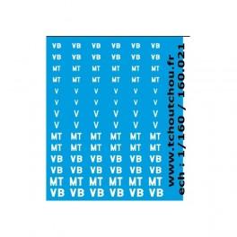 160.021B - Planche marquages V, VB, et MT