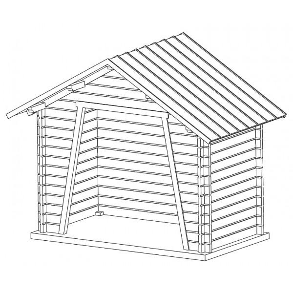 tj 1132 abribus bois toit 2 pentes zingu es tj modeles. Black Bedroom Furniture Sets. Home Design Ideas